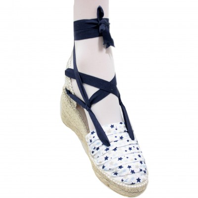 Espadrilles Wedge Blue Stars
